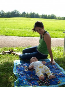 Lounging on the lawn with momma