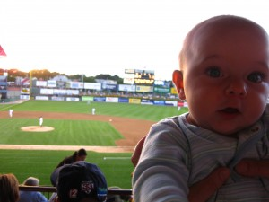 Dylan at the PawSox on his 5-month birthday.