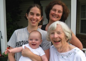 Four Generations!  Dylan meets his G.G. (Great Grandma Mary).